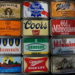 Vintage Beer and Champagne Label Coors Pabst Belt Buckles