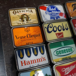 Beer and Champagne Label Belt Buckles