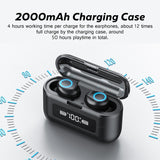Waterproof Earbuds with Touch Control 2000mAh