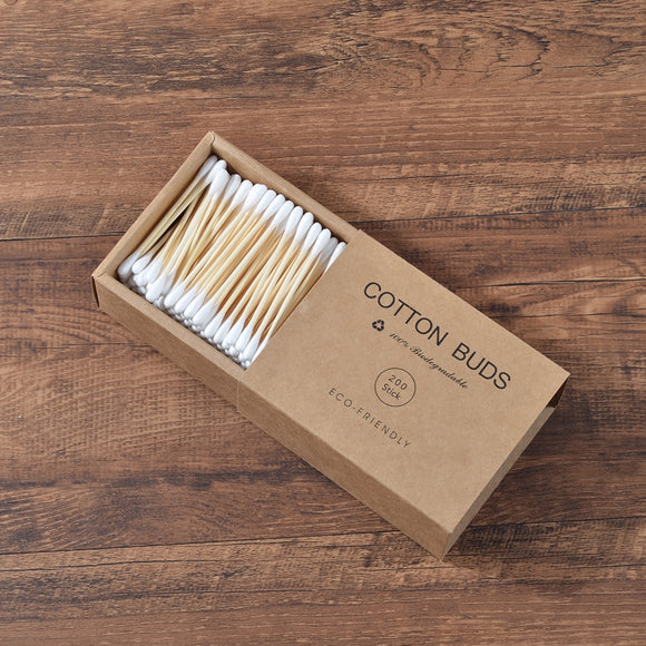 200Pcs Plastic-Free Double Head Bamboo Cotton Buds