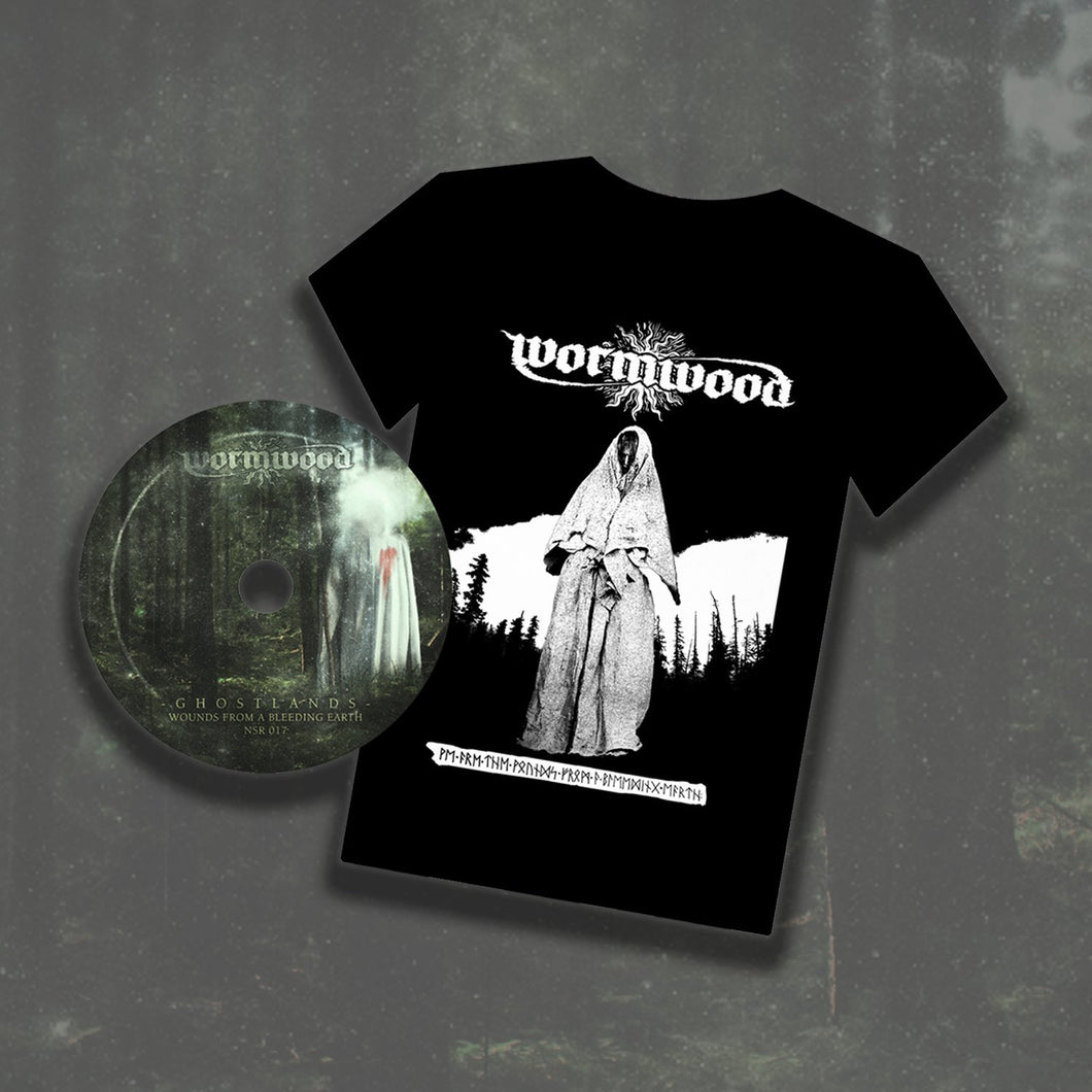 Wormwood - Ghostlands - Wounds From A Bleeding Earth CD + T-Shirt Bundle