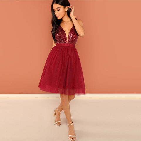 fb58c098a0 Burgundy Sexy Party Backless Sequin Detail Mesh Halter High Waist Solid  Dress