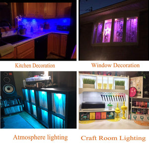 Round Linkable Dimmable Color Changing Puck Lights Kit,24V Kitchen cabinets,Display,Showcase RGBW LED Under Cabinet Lighting Kit with 40 Key IR Remote(5 Packs,RGBW)