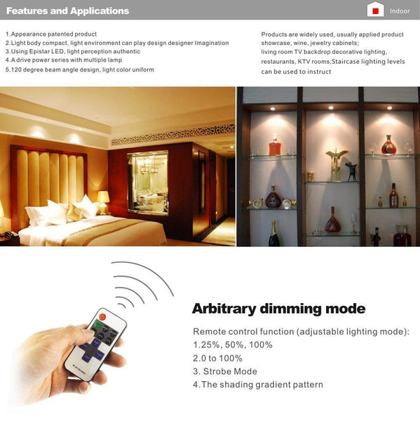 AIBOO Wireless 12V LED Under Cabinet Lighting Dimmable with RF Remote Controller 8 Lights