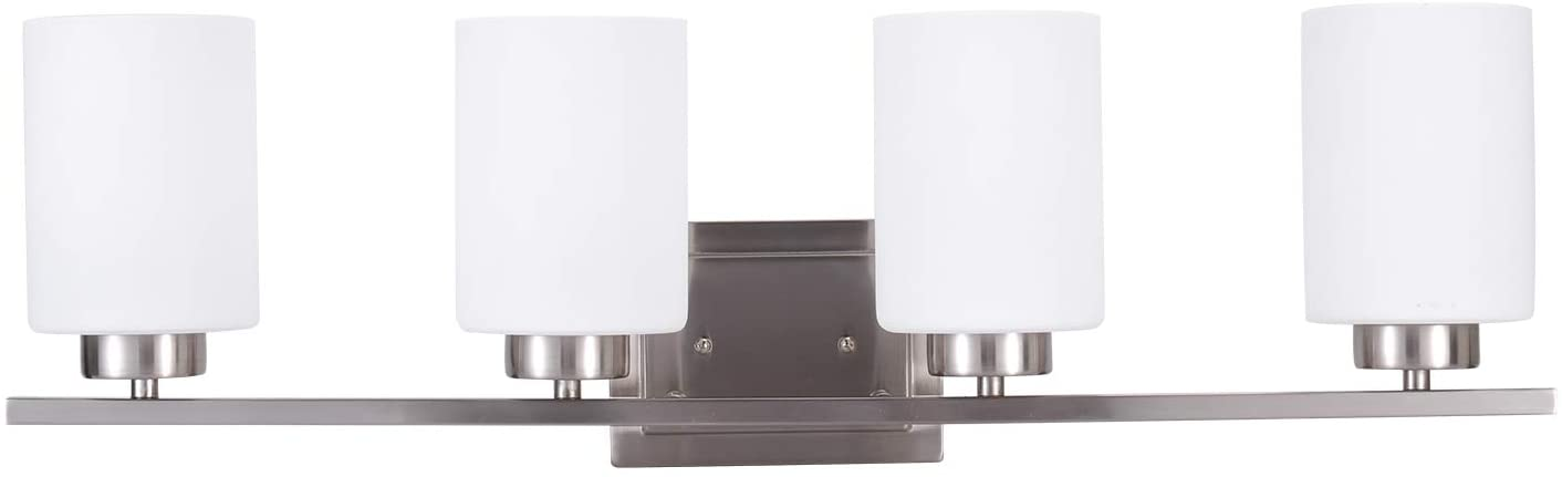 Bathroom Lighting Fixture Over Mirror, 4-Bulb Bath Vanity Lights, E26 Interior Wall Lamp, Bathroom Lights with Brushed Nickel Finish and White Frosted Glass Shade (4 Bulbs not Included)