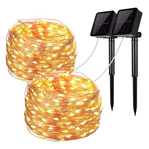 AIBOO Solar String Lights, 2 Pack 100 LED Starry String Lights, Copper Wire Lights Outdoor/Indoor, Waterproof Solar Fairy Lights for DIY Decor Patio, Garden, Party, Christmas