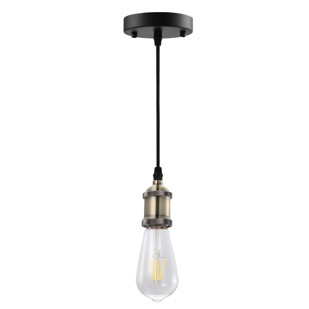 AIBOO Pendant Lighting, Bronze and Black Finish Retro Lighting Fixture E26 Base, Vintage Adjustable Hanging- Light- Kit (Bulbs not Included)