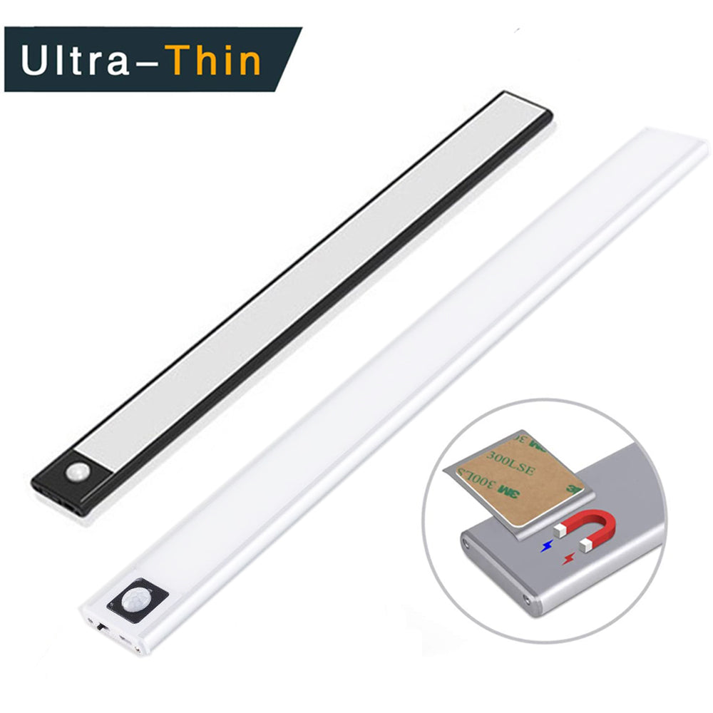 20/40CM PIR Motion Sensor LED Under Cabinet Light USB Rechargeable Wardrobe Closet Cupboard magent install Ultra-thin wall lamp