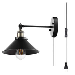 AIBOO Wall Sconces Industrial Vintage Wall Lamp, Plug in Cord with on/Off Switch, Simplicity Bronze and Black Finish Arm Swing Wall Lights Fixture 3 Pack (Bulbs not Included)