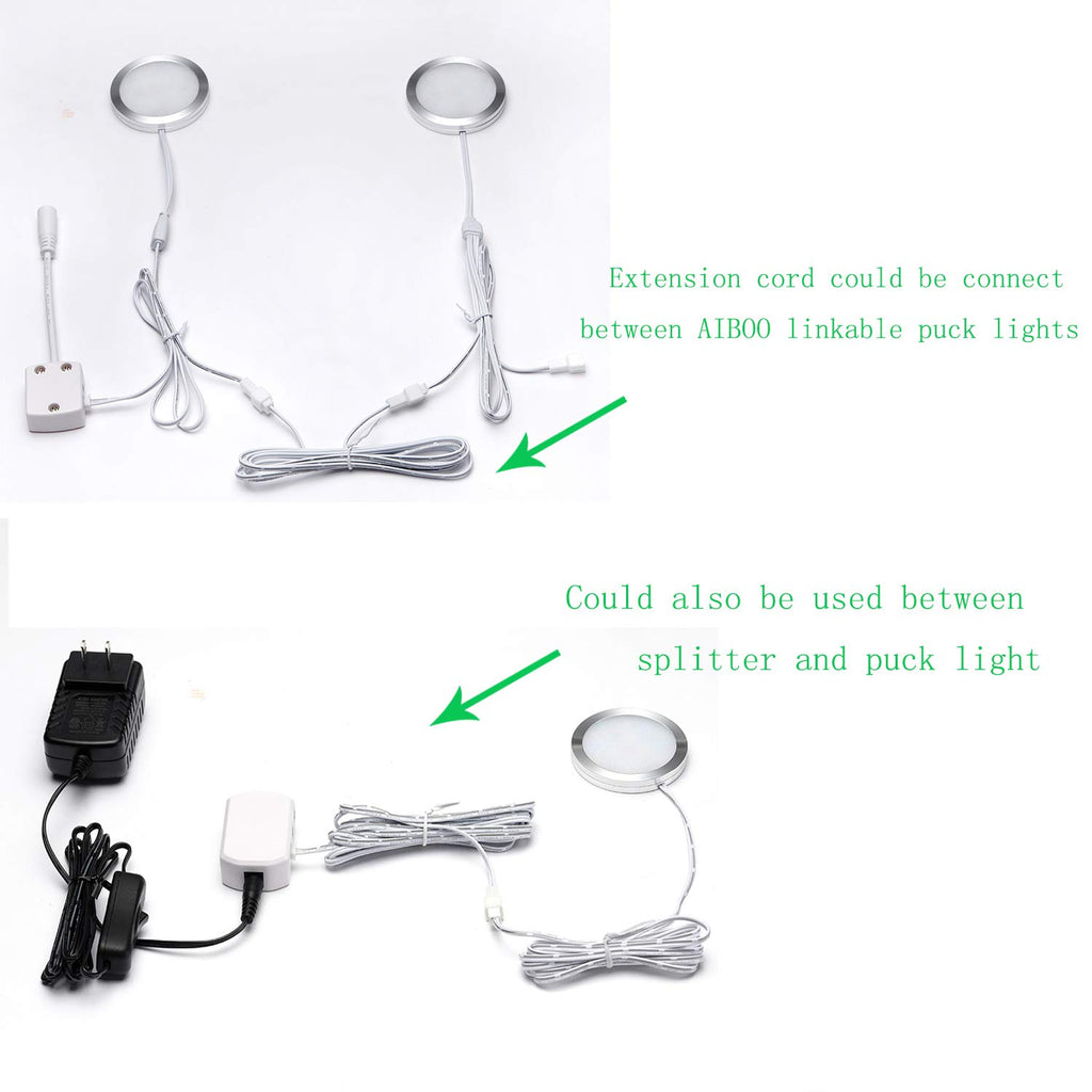 Flexible Extension Cable for LED Cabinet Light kit 3m (118.11 inch) (2 pin White Cord, 6 Packs)