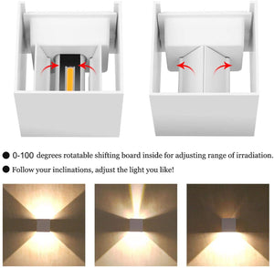 White LED Wall Light 12W, AIBOO Square Shaped LED Wall Lamp with Adjustable Angle Design, Modern Aluminum Wall Sconce Lighting IP65 Waterproof for Indoor Outdoor Lighting Warm White 2700K
