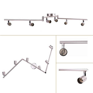 Track Lighting Kit, AIBOO Wall/Ceiling Mounted Adjustable Lighting Fixture with Flexible Foldable Arms and Rotatable GU10 Socket (Bulbs not included)