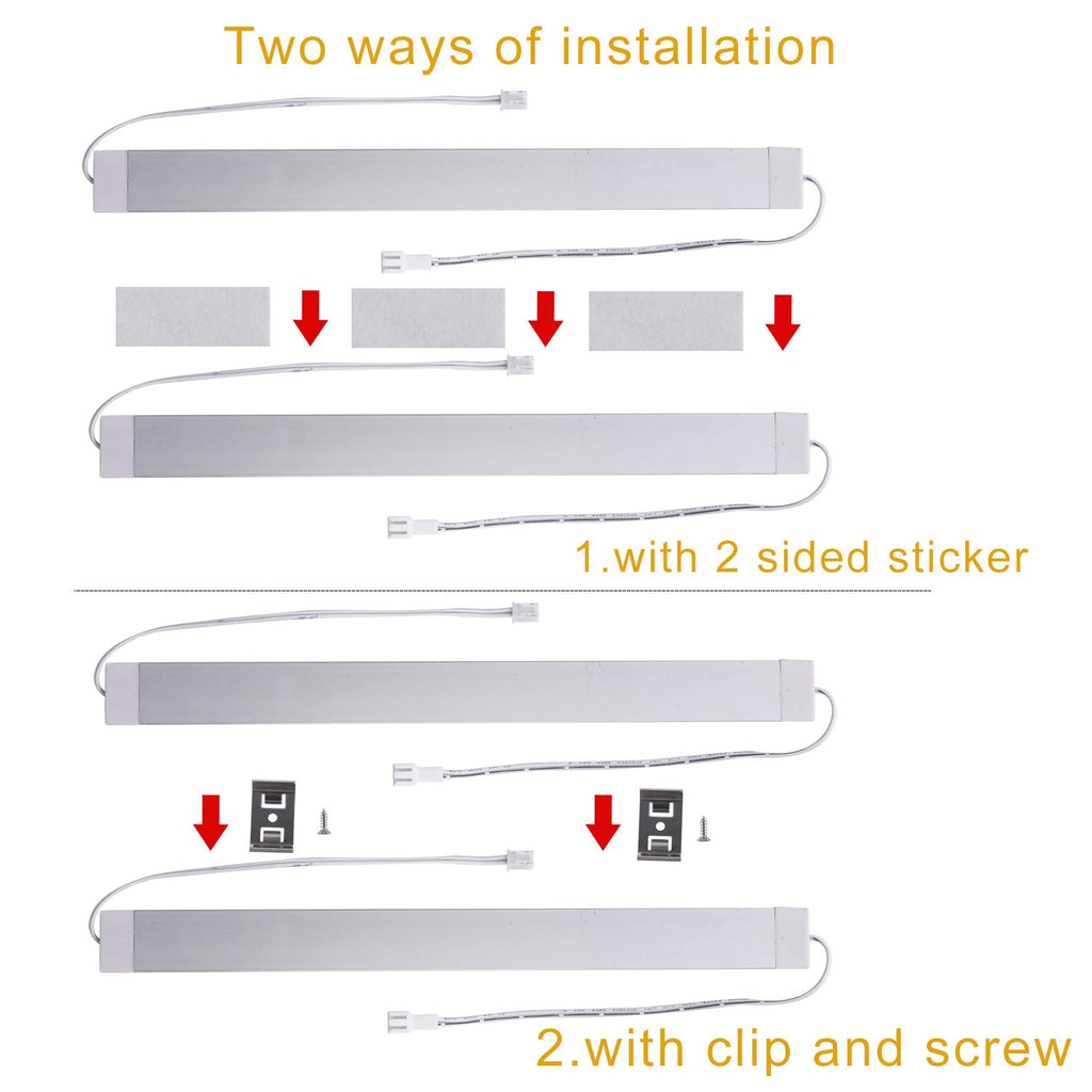 "11"" 24V Linkable LED Kitchen Cabinet Light with Dimmer and Adapter(2700K/6000K, 6 Lights)"