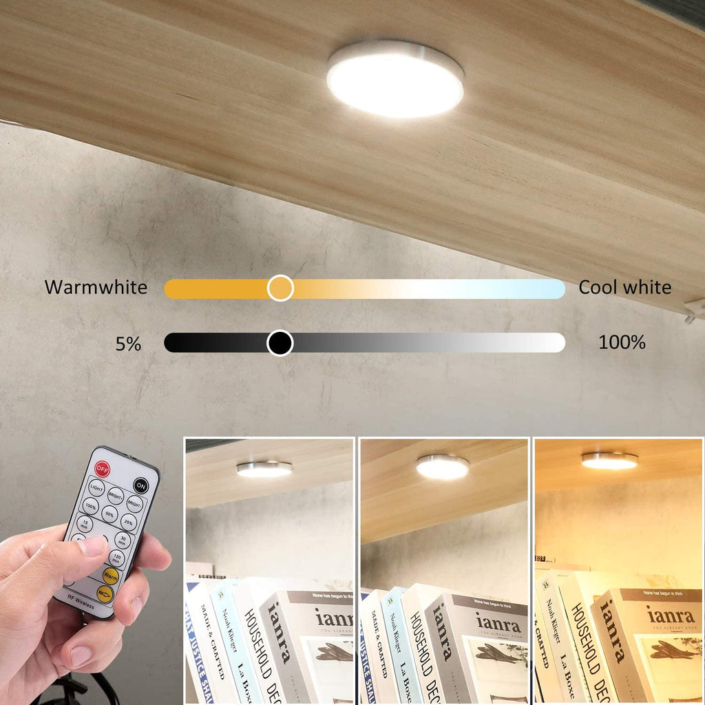 AIBOO Under Cabinet LED Puck Lights CCT Light Color Temperature Adjustable Warm+White Double Color with Dimmable RF Remote Controller for Kitchen Closet Ambiance Holiday Lighting (6 Lights, 18W)