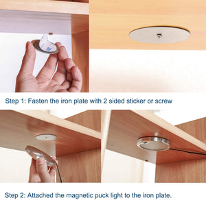 Dimmable Hand Wave Activated Ultra Slim Round Cupboard Shelf Puck Lights for Kitchen Lighting