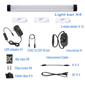 AIBOO LED Under Cabinet Lighting Kit, LED Strip Light,Shelf Lights Direct Wire, 12V Dimmable Kitchen Light Bar Linkable with Rocker Switch and Plug in Adapter