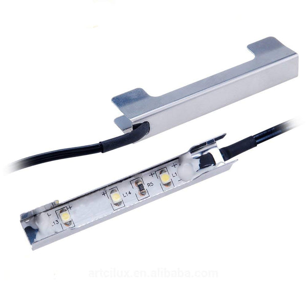 AIBOO Under Cabinet LED Lights for Glass Edge Shelf Back Side Clip Clamp Strip Lighting 8 Lamps with RF Remote and Adapter