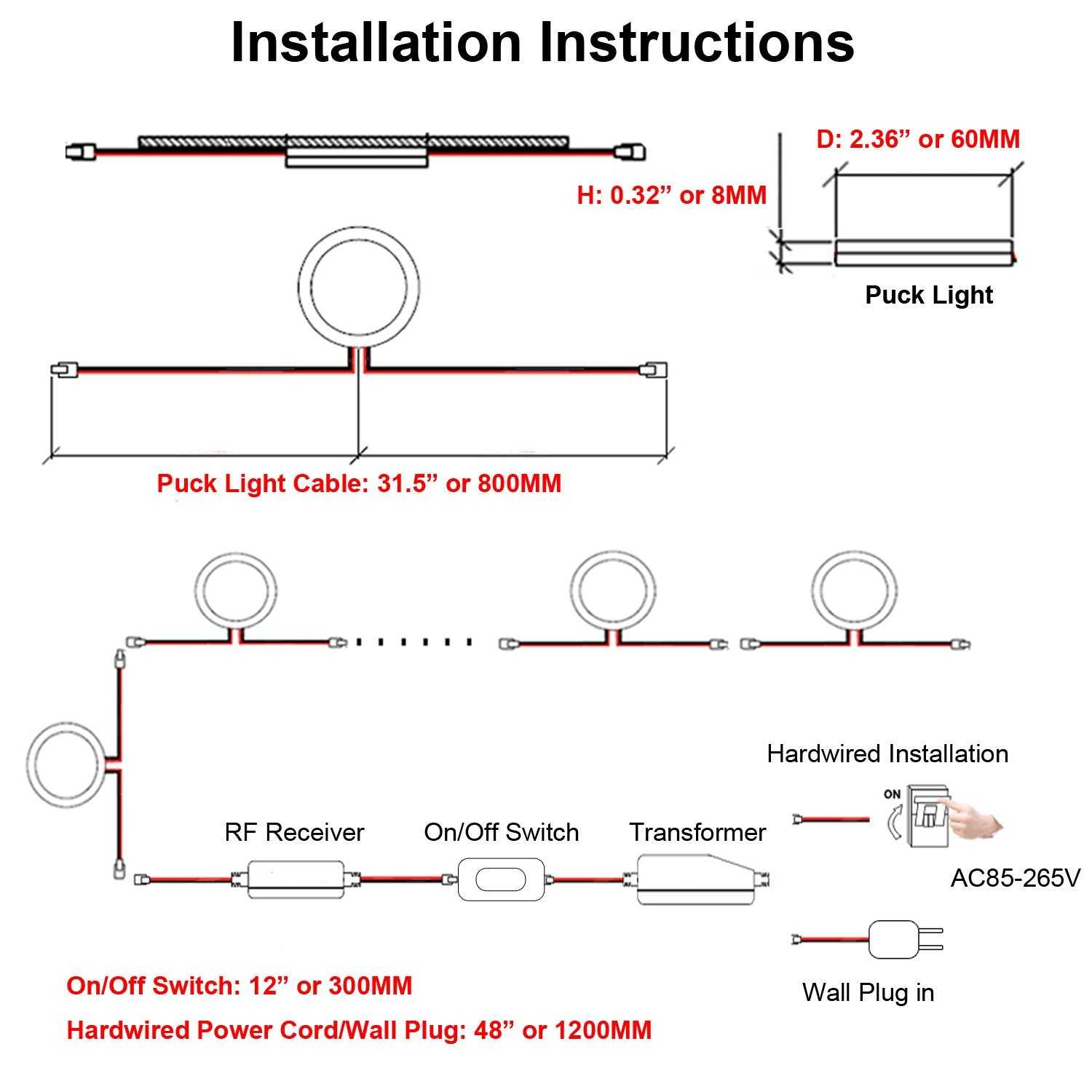 8 Lights, Warm White AIBOO Linkable Under Cabinet LED Lighting 12V Dimmable Puck Lights Hardwired with Wireless RF Remote Control for Kitchen Mood Lighting