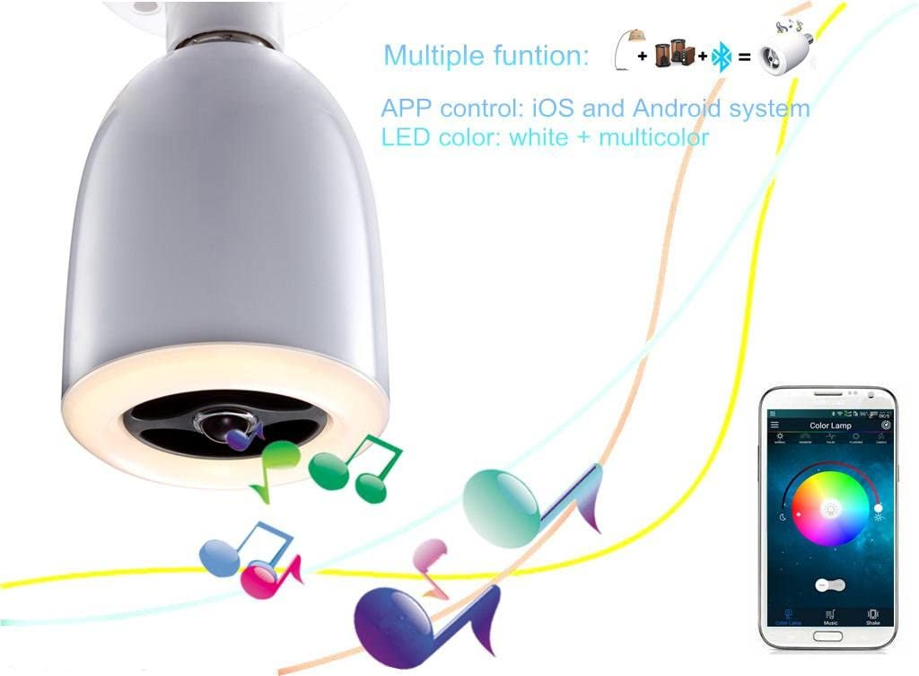 Aiboo LED Bluetooth Speaker with RGBW Light Bulb,E27 9W Dimmable Light with Remote Control,APP Control,Audio Speaker Music Playing