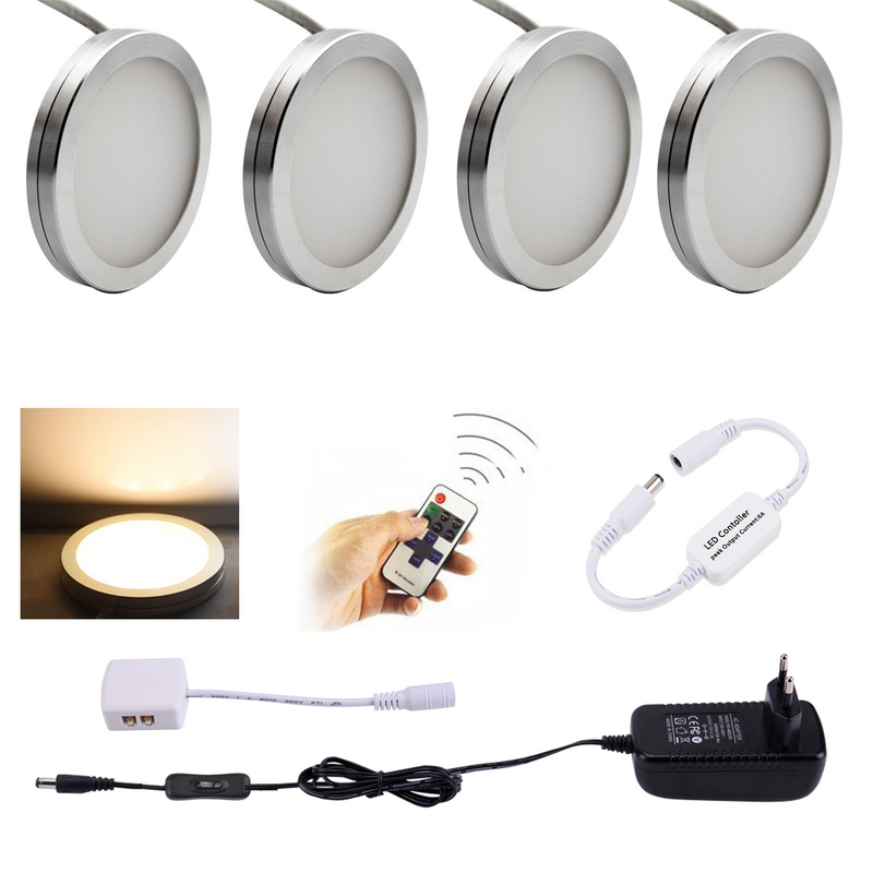 AIBOO LED Under Cabinet Lighting 4PCS LED Puck Llights with Wireless RF Remote Dimmable for Under Counter,Shelf Furniture Lights (White Wire)