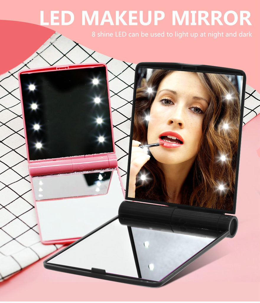 Fashion LED mirror light Folding Portable Women Ladies makeup lighting Compact Pocket Vanity lamp Cosmetic Nice Gift (black)