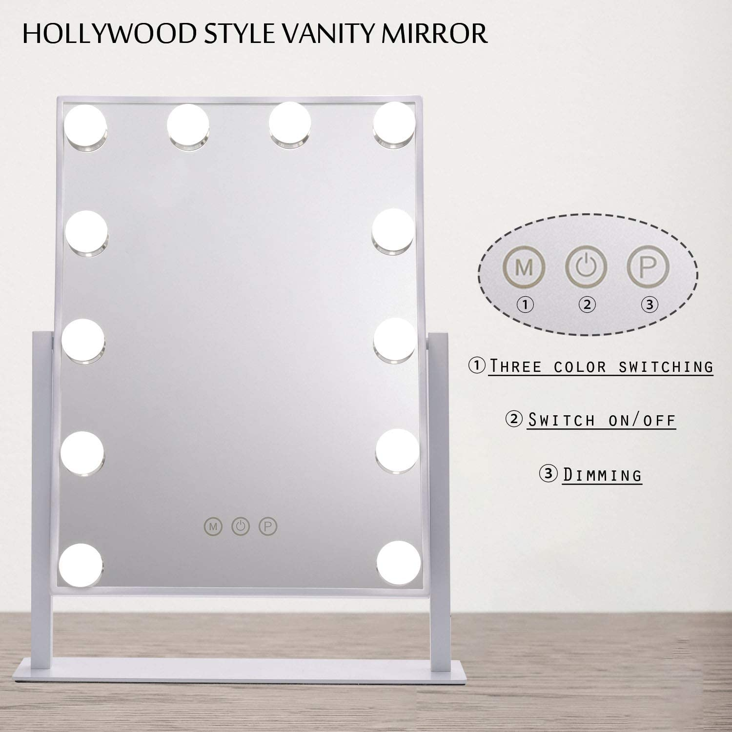 Hollywood Style Vanity Mirror with Embedded Lights, 360 Degree Rotary Cosmetic Mirror with 12 Dimmable LED Bulbs, 3 Touch Button and 3 Lighting Color Dressing Table Mirror for Makeup (White Frame)