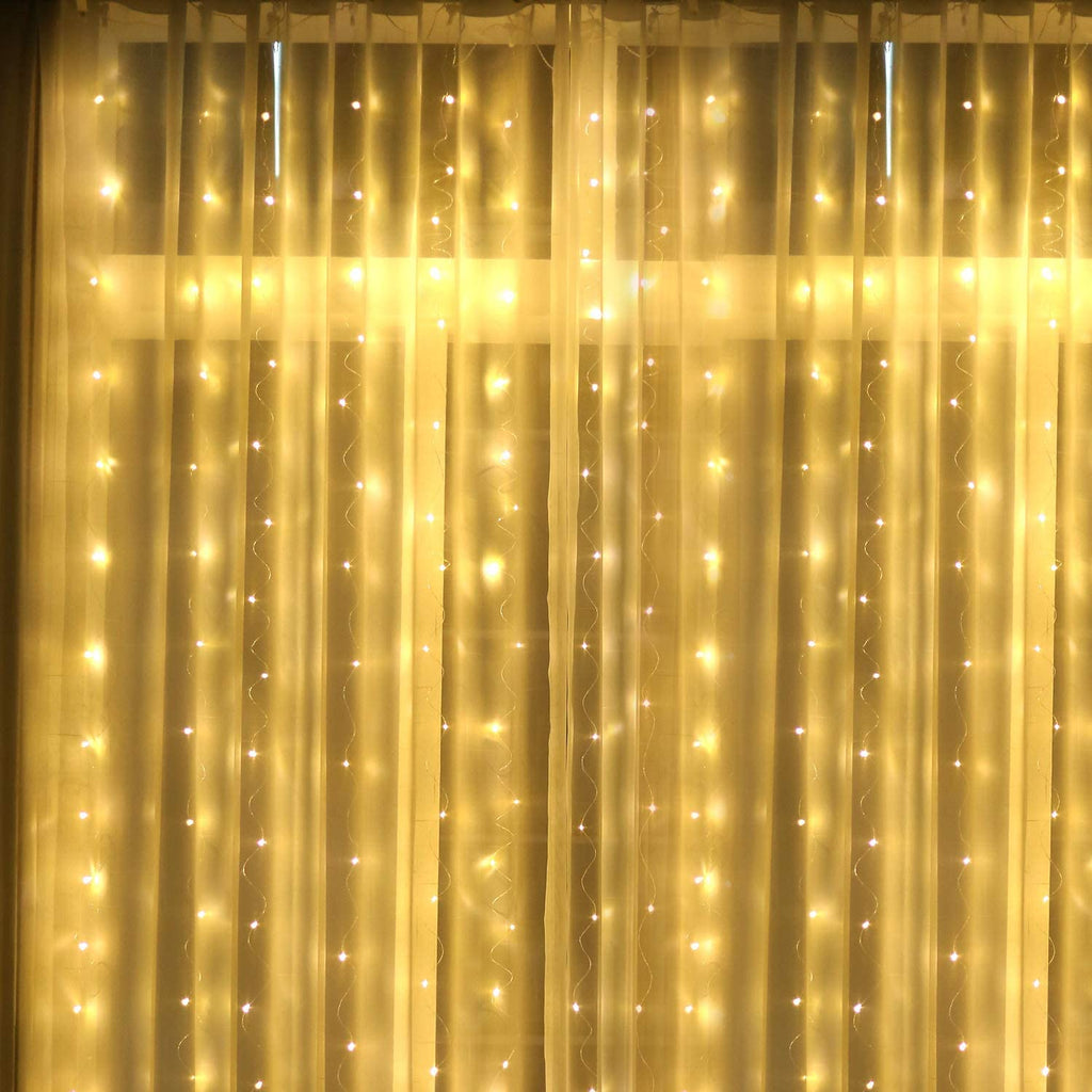 LED Curtain Lights USB Powered, AIBOO 300 LED 3m X 3m Curtain Fairy Lights with 8 Modes Remote Control, Window String Lights for Outdoor Indoor Christmas Valentine Wedding Party Decoration(Warm White)