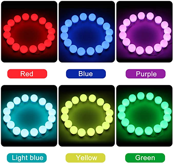 LED RGB Colorful Vanity Mirror Lights,Rainbow Chasing Color Hollywood Style Makeup Mirror Lights for DIY Bedroom Party,Dimmable Plug in 16 Bulbs with Remote Control (Mirror Not Included)