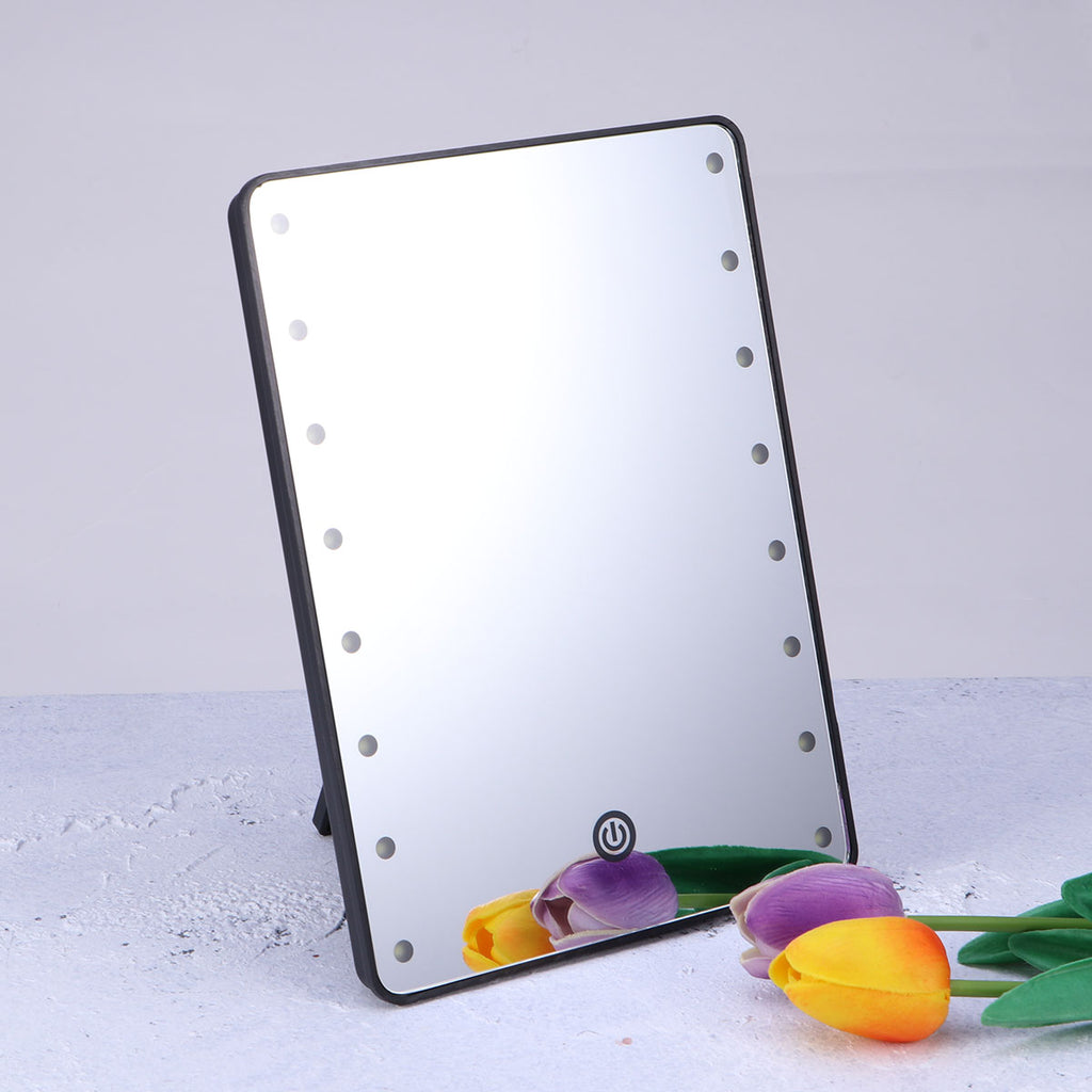 LED Vantiy Mirror Light Folding Make up mirror Portabale Touch Dimmer Batetter Operated Women lighting For Tabletop 16 LED black