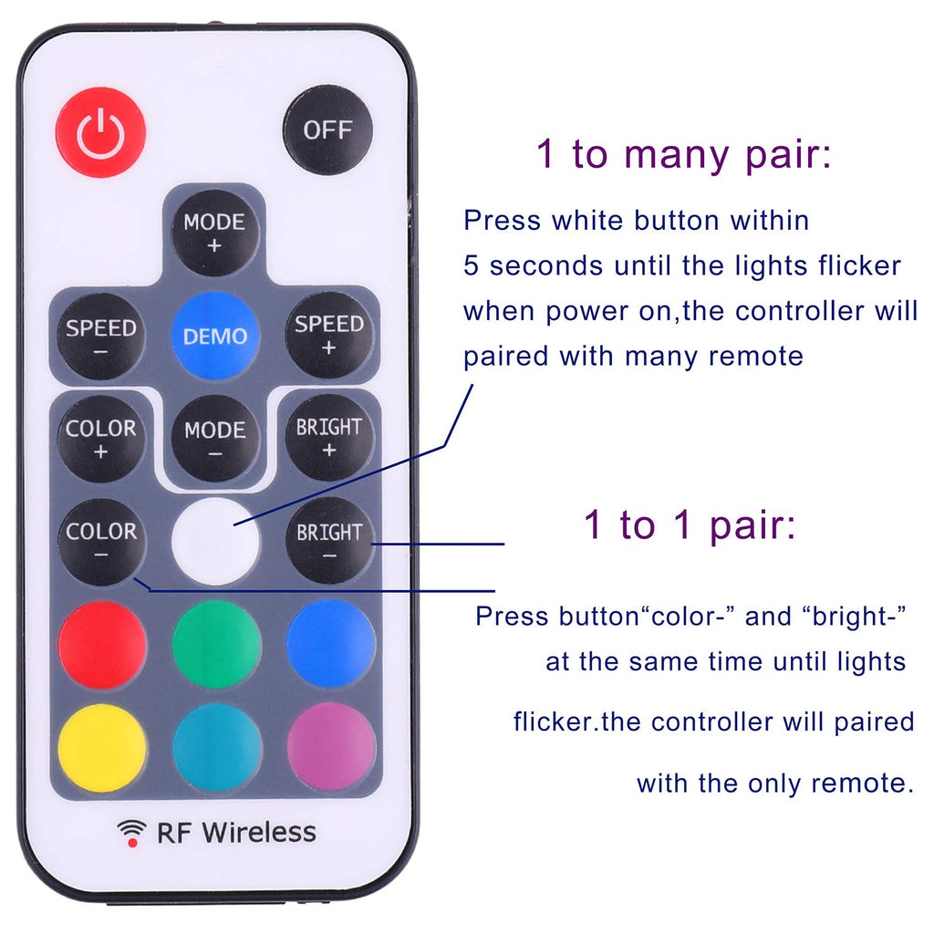 Mini Remote Controller for RGB Color LED Strip Lights, RF Dimmer for 12V DC LED Ribbon, Wireless Remote Control for Dimmable 3528 5050 Under Cabinet Puck Lights(RGB)