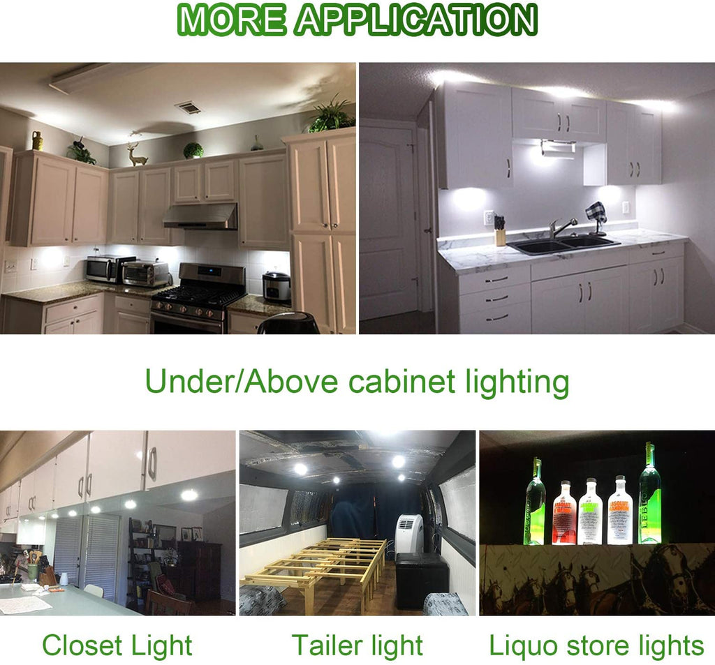 AIBOO Under Cabinet LED Black Cover Puck Lighting Kit with Touch Dimmer Switch for Kitchen Cupboard Closet Lighting (3 Lights,Warmwhite2700K ,Daylight White)