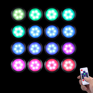 Dream Color Under Cabinet Lights, AIBOO Linkable Dimmable Color Changing Puck Lights Kit with 14-Keys RF Remote Control, 24V RGB Under Cabinet Lighting Kit for Party Christmas Decorations (16 Pack)