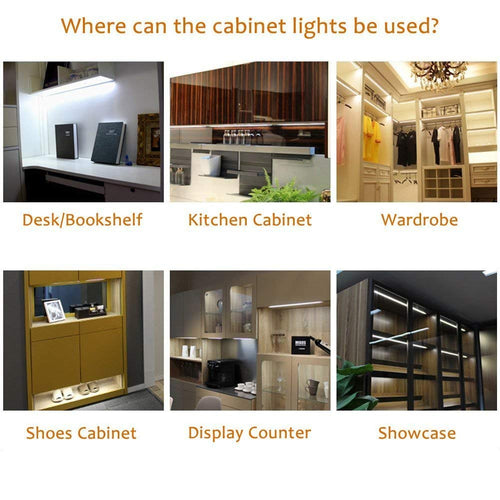 AIBOO Under Cabinet LED Puck Lighting Kit with Touch Dimmer Switch for Kitchen Cupboard Closet Lighting 3 Lights