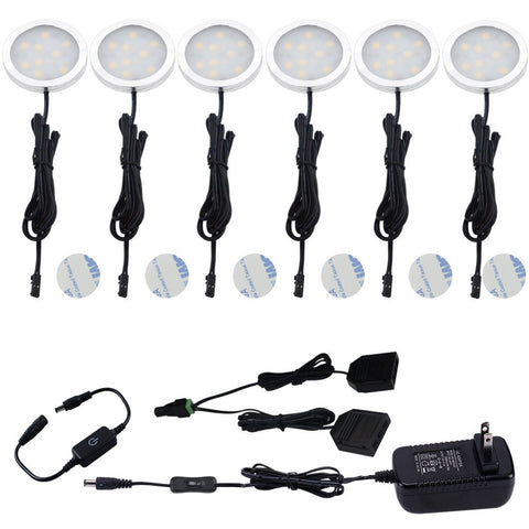 AIBOO Under Cabinet LED Puck Lights Kit with Touching Dimming Switch for Ambiance Atmosphere Night Lighting 6 Lights