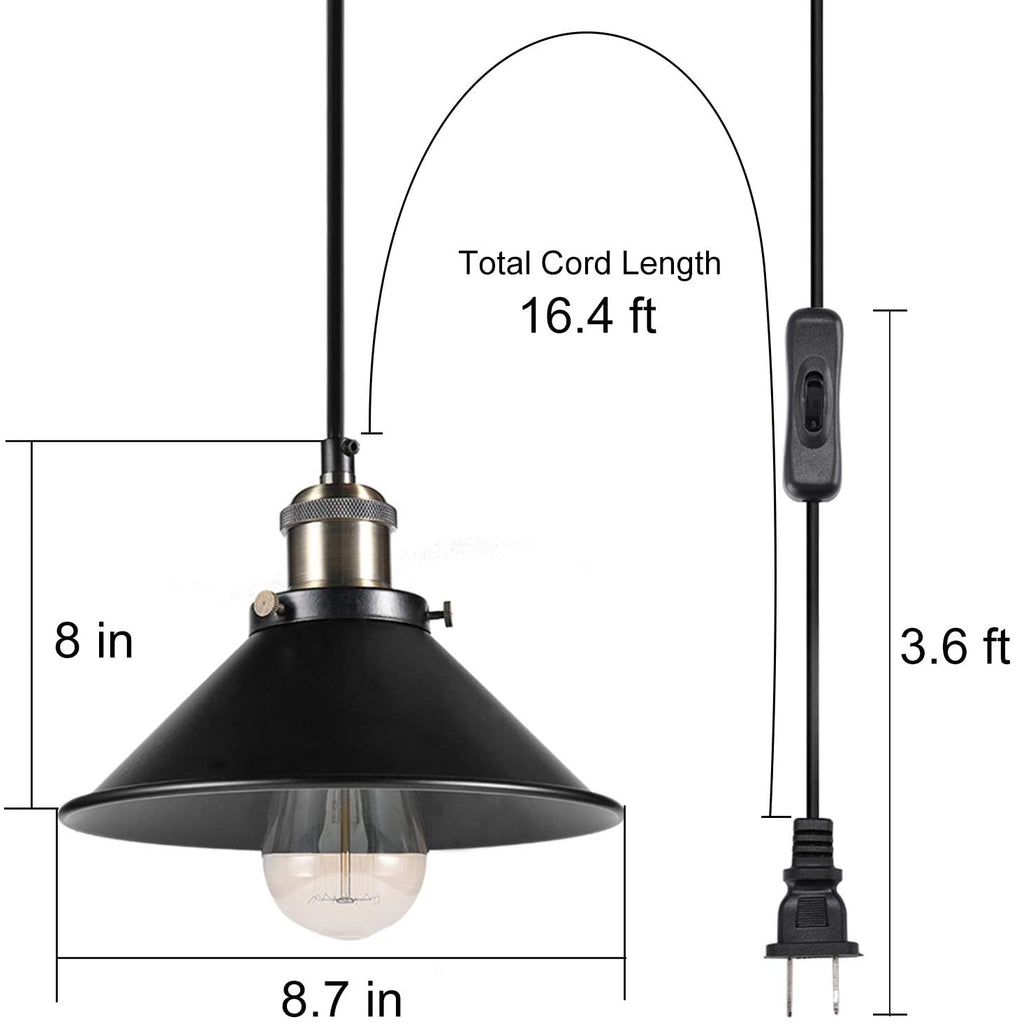 Pendant Lighting for Kitchen Island,16.40ft Plug in Vintage Hanging Lamp with ON/Off Switch, Simplicity Bronze and Black Finish, E26 Base Retro Lighting Fixture 3 Pack (Bulbs not Included)