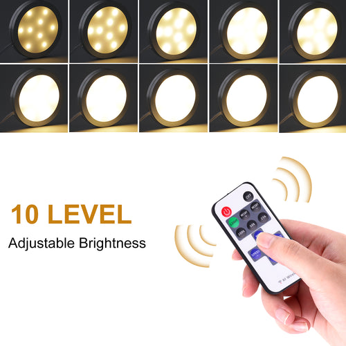 Dimmable LED Under Cabinet Puck Lights AIBOO 3 Wired Puck lights with RF Remote Control for Home Kitchen Counter Lighting