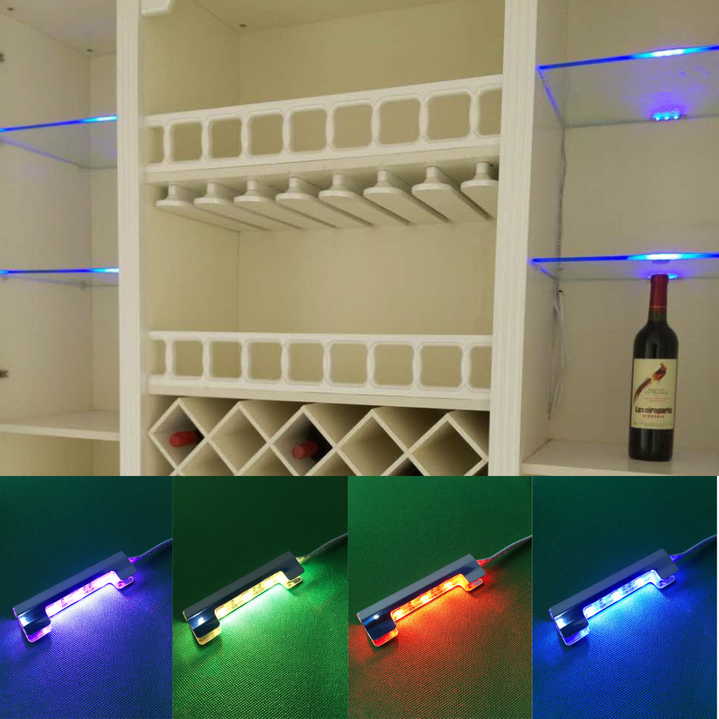 AIBOO LED Under Cabinet Night Lights Kit for Glass Edge Shelf Back Side Lighting Using Flexible Cable and Clip with RF Remote 4 RGB Lights