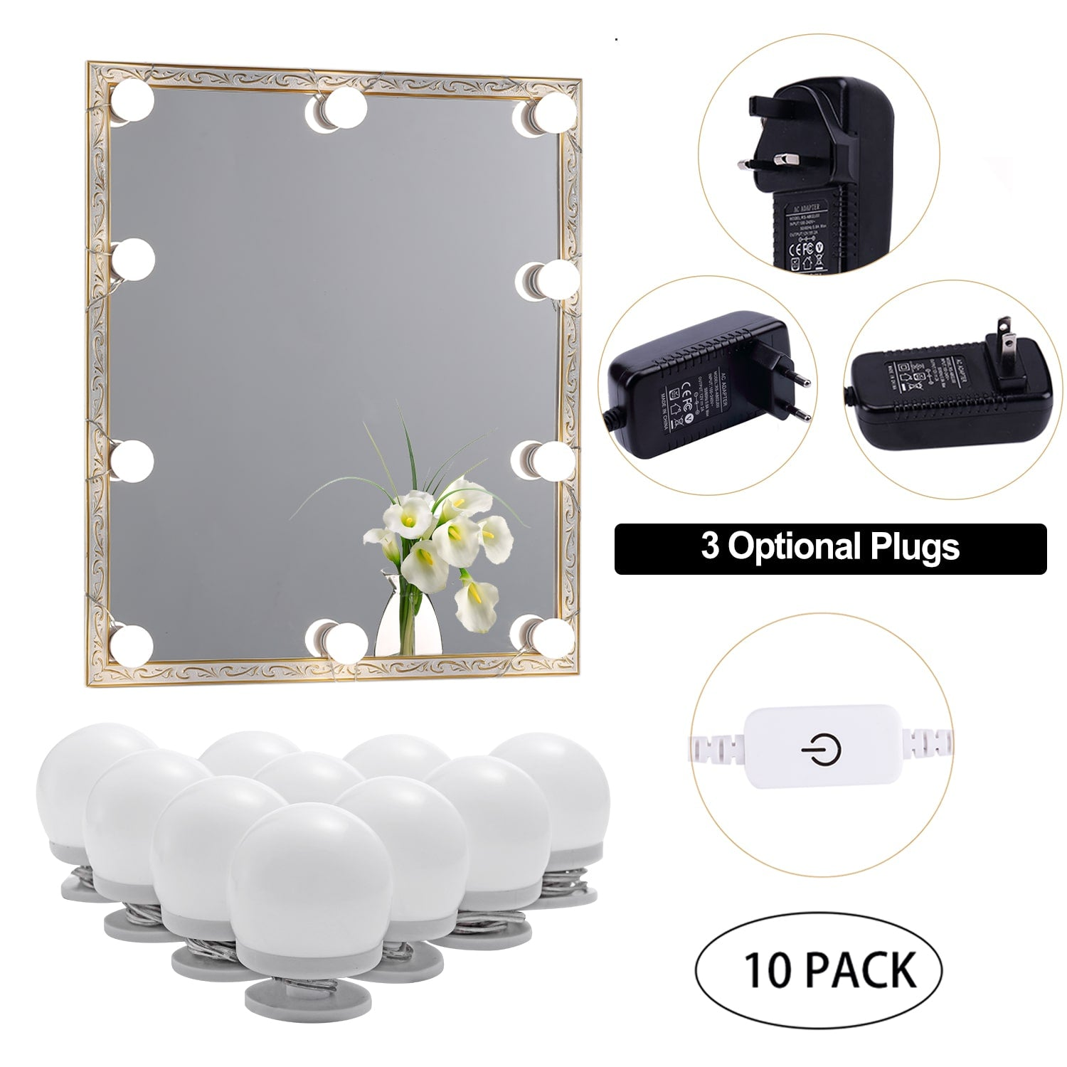 LED Makeup Mirror Lights(4000K, 10Bulbs, Plug in), Mirror Not Included