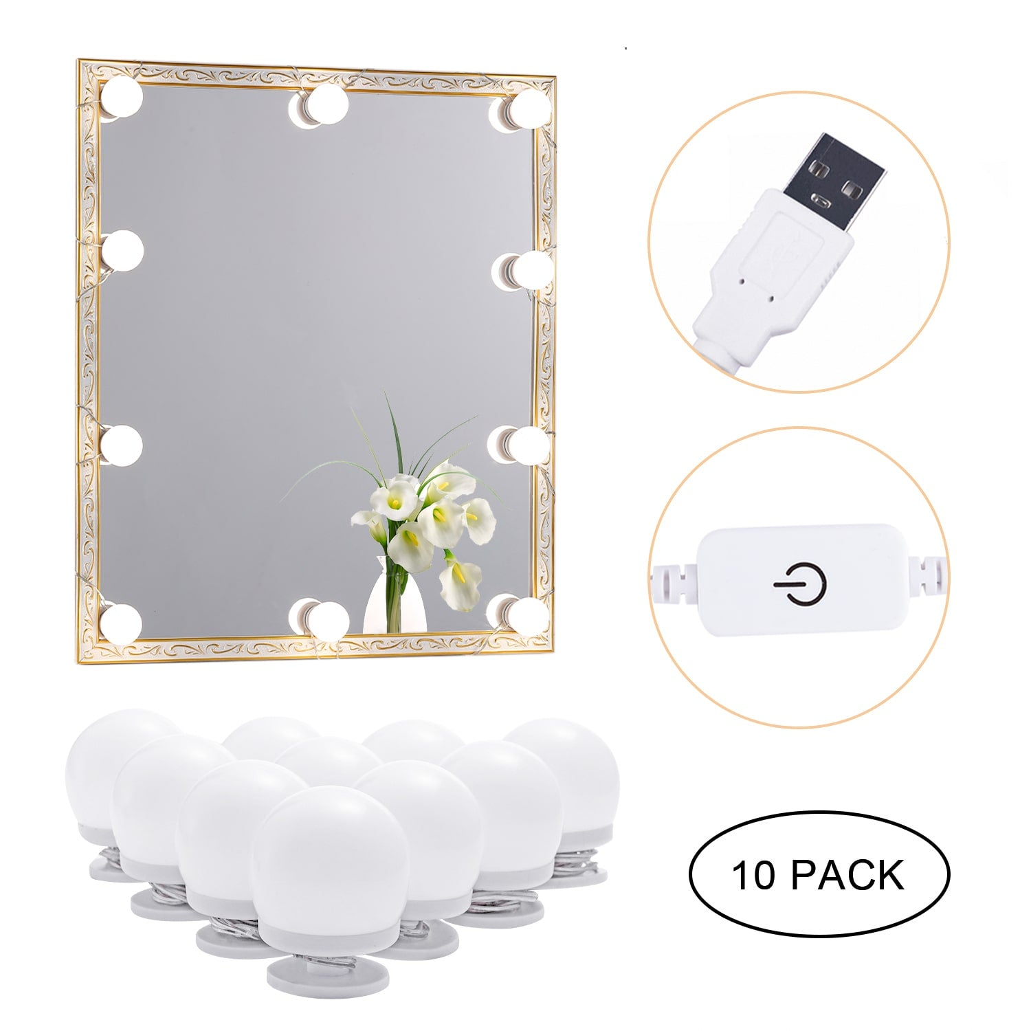 LED Mirror Makeup Lights (4000K, 10 Bulbs 5V USB) Mirror Not Included