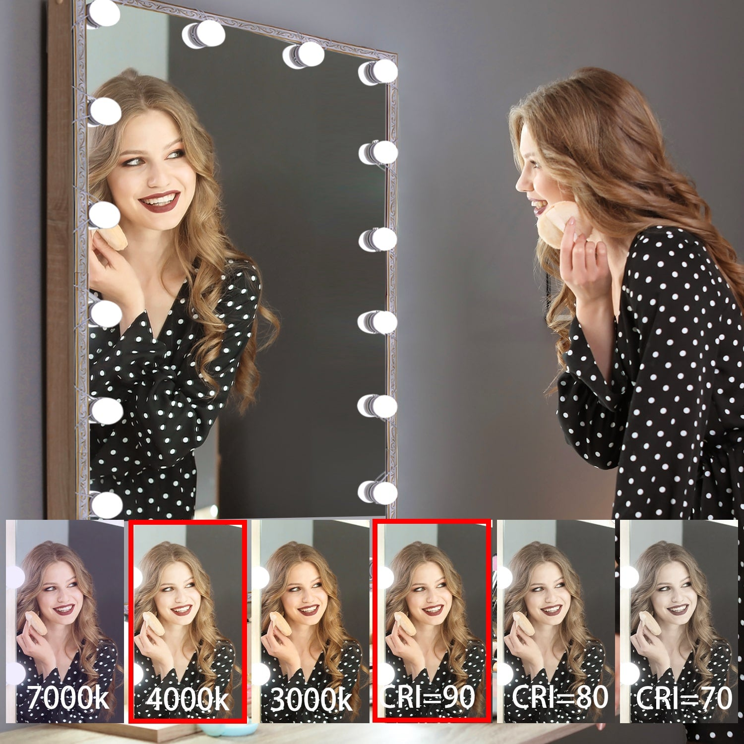 LED Makeup Mirror Lights(4000K, 14 Bulbs, 5V USB) Mirror Not Included