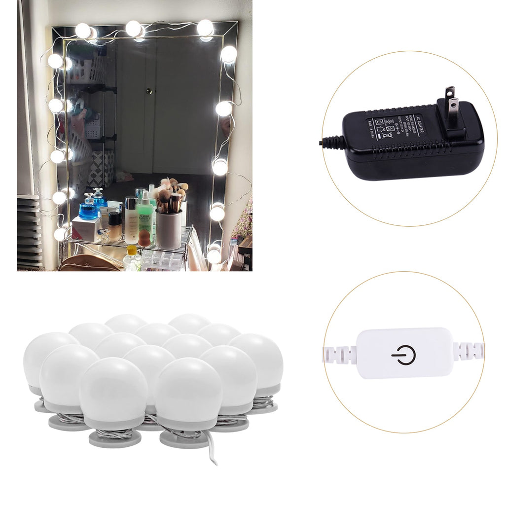 LED Makeup Mirror Lights Stick on(4000K, 14Bulbs, Plug in), Mirror Not Included