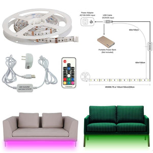 AIBOO Sofa Couch Bed Lights RGB LED Strips Illumination with Wireless RF Remote Control, Entrance, Closet, Staircase Lighting