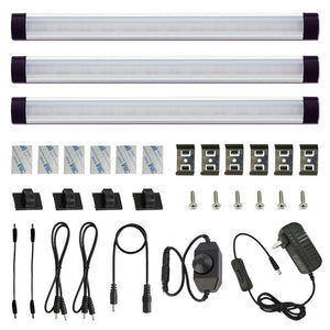 12V Linkable LED Under Cabinet Light Bar with Dimmer & Adapter(2700K/6000K, 3 Lights)