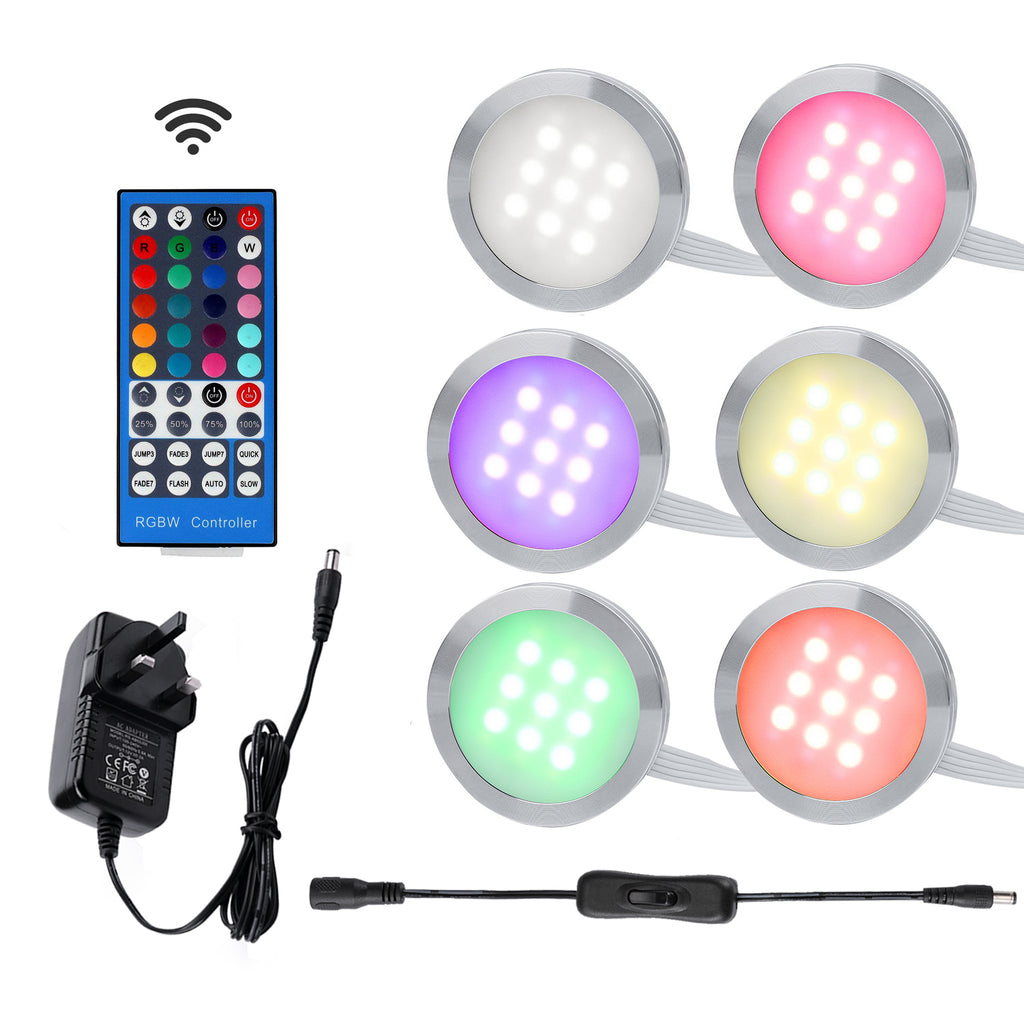 AIBOO RGBW RGB+White/RGB+Warm white Color Changing Under Cabinet LED Lights Kit Remote Puck Lamps for Kitchen Counter Ambiance Lighting ( 6 Lights,18W)