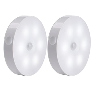 AIBOO Battery Powered LED Motion Sensor Puck Lights (2 Packs/Lot)