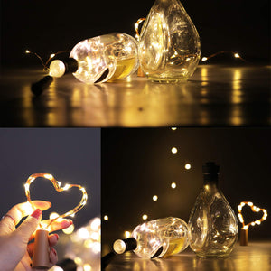 Bottle Lights, AIBOO 20 LEDs Fairy Decor Cork Wine Bottle Mini String Lights, Battery Operated 2M Copper Wire Lights DIY for Christmas Party, Wedding and Birthday Party