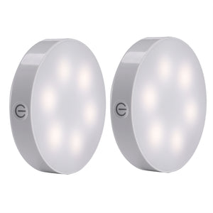 AIBOO USB Rechargable Puck lights Dimmable 4000K/6000K switchable (2 Packs)