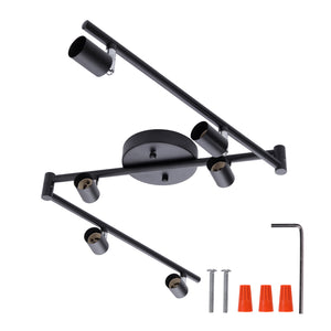 6-Light Adjustable LED Dimmable Track Lighting Kit by AIBOO,Flexible Foldable Arms, Matt Black Color Perfect for Kitchen,Hallyway, Bed Room Lighting Fixtures, GU10 Base Bulbs not Included