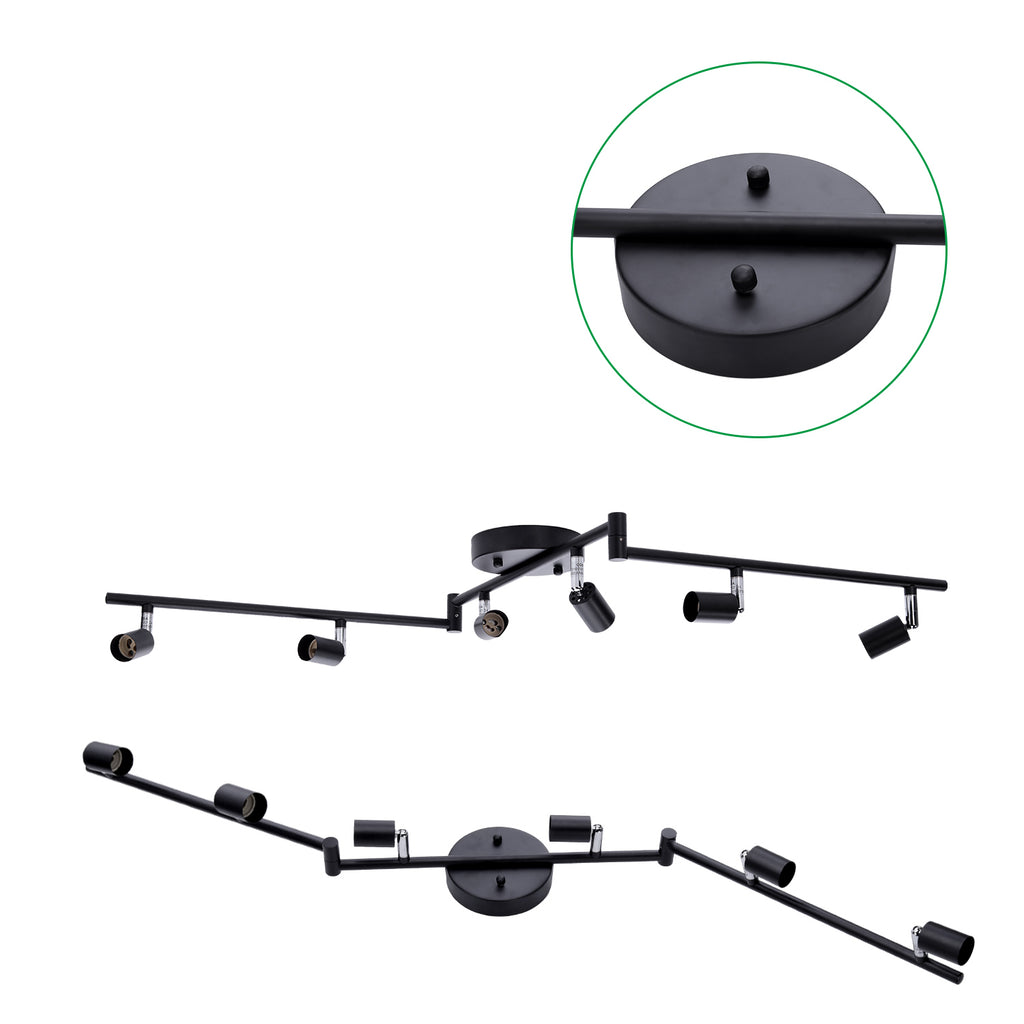 6-head LED Track Lighting Fixture, No Bulbs (GU10 Base, Matt Black)