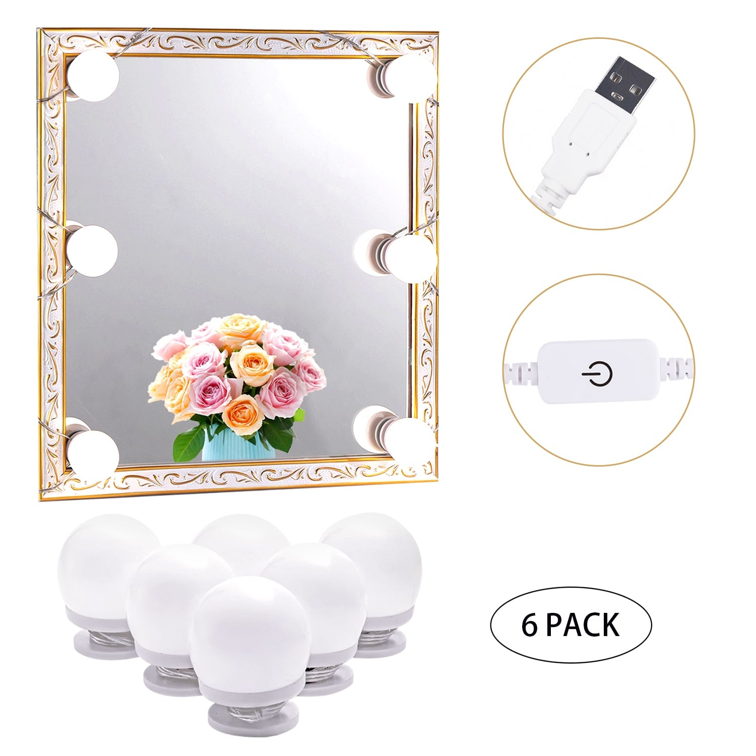 LED Makeup Mirror Lights (4000K, 6 Bulbs 5V USB) Mirror Not Included